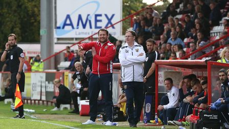 Stevenage boss Darren Sarll on the touchline. Picture: Danny Loo