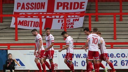 Stevenage celebrate opening the scoring. Picture: Danny Loo