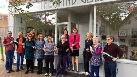 Patricia Saunders of the Letchworth BID opens the new Wynd Gallery. Picture: Love Letchworth
