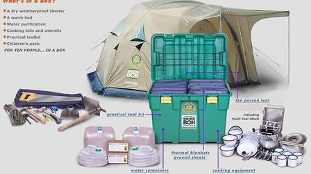 All the gear that's in a ShelterBox. Picture: Rotary Club of Hitchin Tilehouse