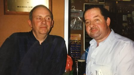 Peter Payne, right, with his friend John Tyrrell at the Legion.