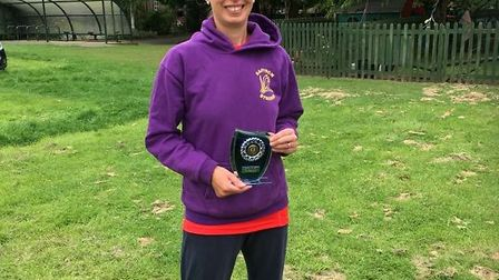 Saffron Striders Rebecca White was first woman home at the Harlow 10