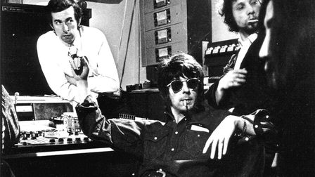 A young Eddie Veale (left) at John Lennons studio in Tittenhurst Park with music producer Phil Spect