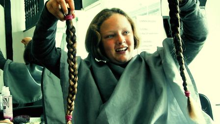 Ella Aquilina after she had her long locks chopped off to support the Little Princess Trust. Picture