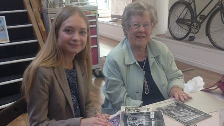 Garden City Collection's Gemma Leader with Sheila Hall, who shared memories of the menswear and boys