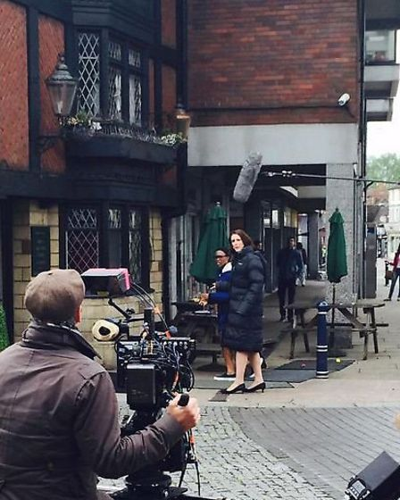 Filming of Dr Foster in Hitchin's Market Place.
