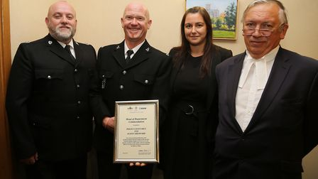 PC Justin Sheppard, second from left, receives his special commendation at St Albans Crown Court fro