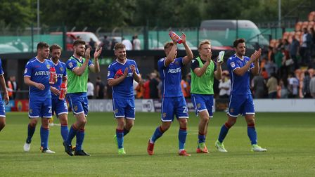 Stevenage thank their fans after a hard fought win. Picture: Danny Loo