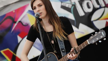 Cara Beard plays on the Folkstock stage during Balstock 2014.