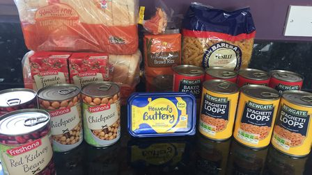 The groceries with which Roy Clark is living on a pound a day for a week. Picture: Roy Clark