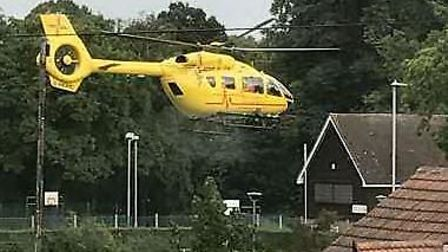 Ambulance copter in Letchworth Garden City, in Bowls Green. Picture credit: William Lindsay.