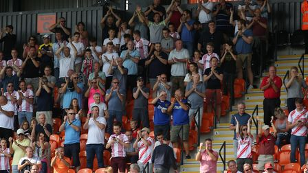 Stevenage fans in the away end at Barnet. Picture: Danny Loo