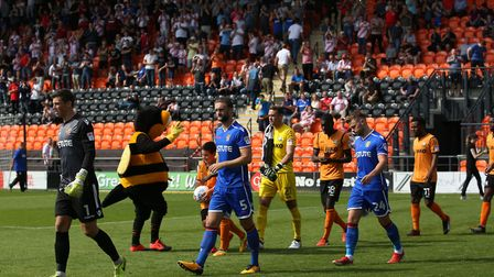 Stevenage FC come out in front of the away fans. Picture: Danny Loo