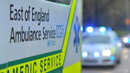 Three people are said to have been taken to hospital after a two-car crash on the A505 between Baldo