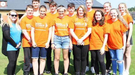 The NCS youngsters who raised money for Muscular Dystrophy UK fundraisers with the Henlow fun day. P