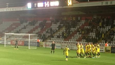 Stevenage 2-6 Oxford as the U's Joe Rothwell celebrates scoring his club's fifth goal. Picture Layth