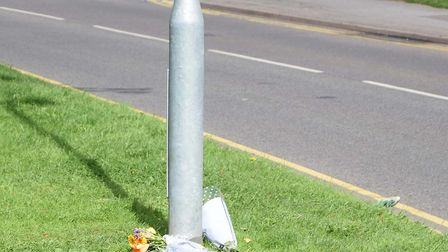 Flowers left at the scene of the crash in Hitchin where Stotfold's Steven Rodick, 35, sadly died.