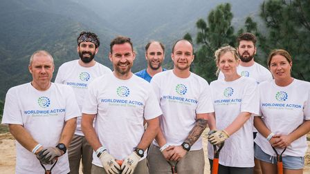 Laura West's cousin Graeme Howell, left, with other volunteers from his Worldwide Action charity in