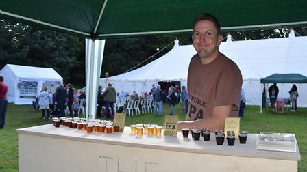 Richard Haigh with his beers at the Potton Show. Picture: Dr J Haigh
