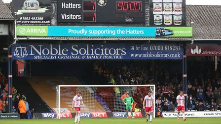 The final score at Luton Town is 7-1 to the Hatters. Picture: Danny Loo