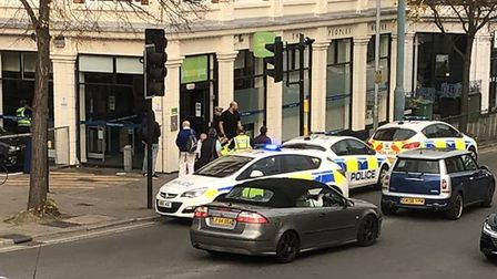Police at Letchworth Jobcentre Plus. Picture: Keiron Wilsher