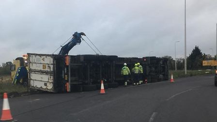 The lorry that overturned on the A1 near Biggleswade. Picture: Jason Kinns