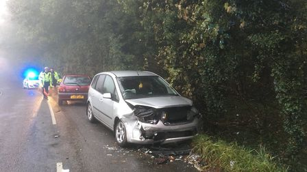 The scene after the earlier crash on the B1037 near Walkern. Picture: East Herts Rural Police