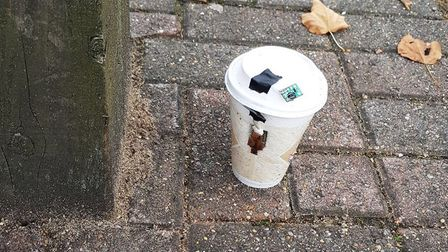 The suspicious device was located by a member of council staff in The Forum, Stevenage.