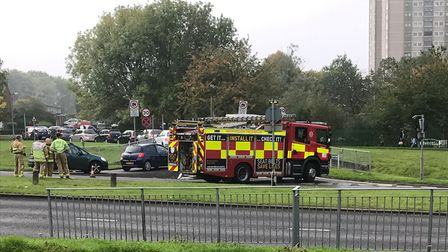 Fire crews on standby next to Fairlands Way. Picture: Submitted