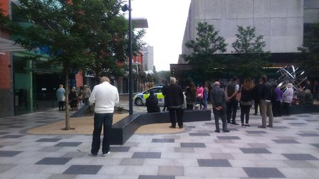 There were a series of police cordons in the town, and shoppers and business owners had to wait hour