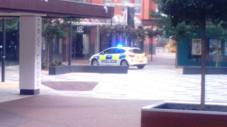 Police cordoned off The Forum in Stevenage after the 'coffee cup' device was found. Picture: Martin