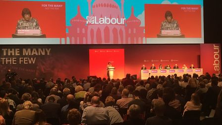 Councillor Judi Billing makes her Grenfell Tower speech at the Labour conference in Brighton. Pictur