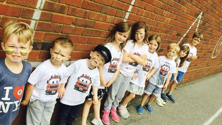 Some of fire engine Dennis' young fans. Picture: Ladder 87