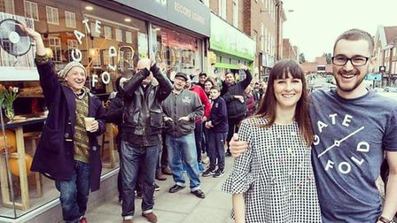 Owners Nicola and Jak Utley outside Gatefold Record Lounge on its opening day. Picture: Peter Goadby