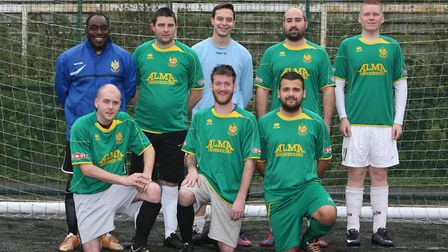 Marc Campbell (back left) is joining up with Hitchin Town FC to help the homeless through sport. Pic