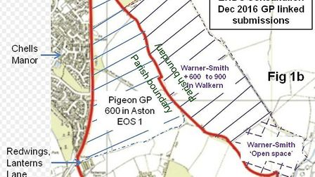 Plans for 600 homes to the east of Stevenage, called Gresley Park.