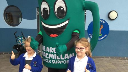 Macmillan Mascot Muggy visited Roebuck Academy. Picture: Donna Lee