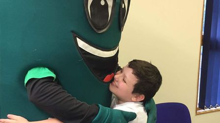 Macmillan Mascot Muggy visited Larwood primary school. Picture: Donna Lee