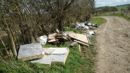 Waste dumped by Gilham at Claybush Road in Bygrave. Picture: North Herts District Council