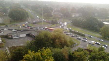 Traffic at the corner of St George's Way, Six Hills Way and the A602 in Stevenage after roads were c