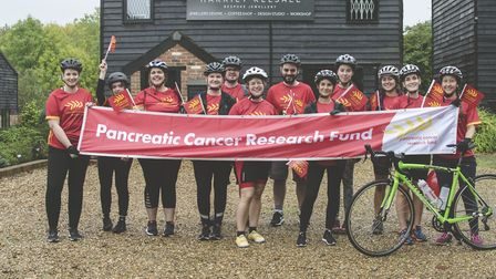 The fundraising team at the start of the challenge, outside Harriet Kelsall Bespoke Jewellery's head