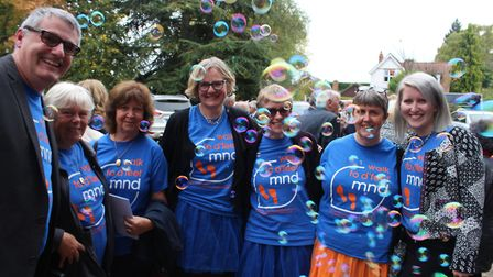Members of the Letchworth Walks to D'Feet MND team honour Pete Jackson's life at St Paul's Church. P