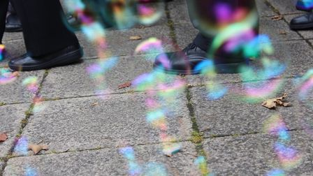 Bubbles at the funeral of Pete Jackson at St Paul's Church. Picture: Letchworth Walks to D'Feet MND