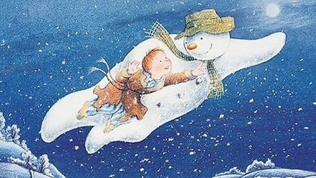 The Snowman and James fly during the iconic song Walking in the Air. Picture: Raymond Briggs