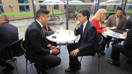 Ed Miliband speaks to Tawhid Juneja from Primary Care People at the Stevenage Business and Technolog