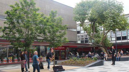 The square outside the Westgate shopping centre with the new performance space. Picture: Stevenage B