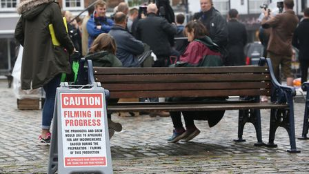 Filming of Humans in Hitchin's Market Place. Picture: Danny Loo
