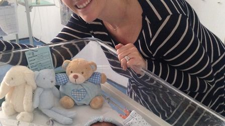 New born James and Henry Kirby with mum Tracey. Picture: Courtesy of Tamba