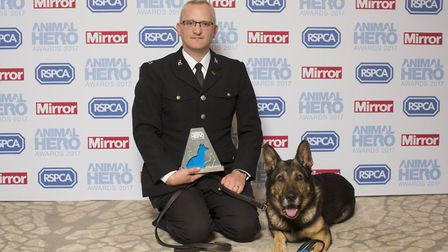 PC Dave Wardell and PD Finn last month, after PD Finn was named Hero Animal of the Year in the Anima
