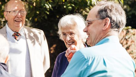 Kingfisher Club member Geoff Croft, his wife and carer Rosemary Croft and club member's son Robert W